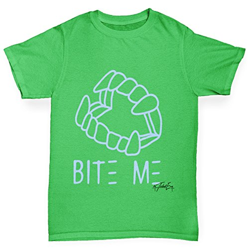 Bite Green T-shirt - Twisted Envy Boy's Bite Me Blue Cotton T-Shirt, Comfortable and Soft Classic Tee with Unique Design Age 7-8 Green