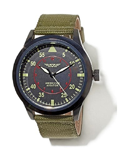 American aviator watch uses the same precision movement that bomber pilots relied on to hit their targets. Stylish, modern replica features a large, easy-to-read face with glow-in-the-dark numbers, sweep second hand, and a breathable nylon band. Dura...