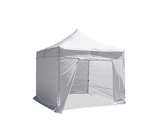 Folding Tent Pop Up Gazebo Marquee 4x4 M PVC Coated Polyester 300g In White