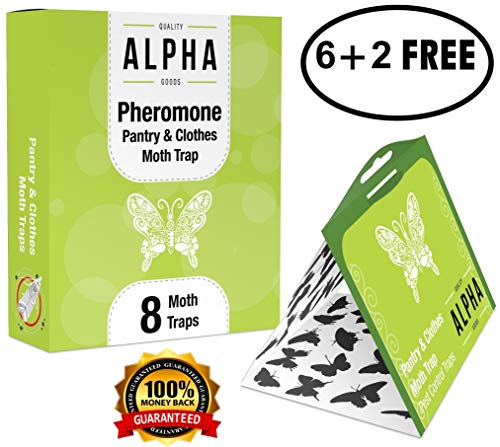 Pheromone Pantry and Clothes Moth Trap, (8 pack), Hybridized Natural Pheromone with Light Trap, Attractant Safe Non-Toxic with no Insecticides