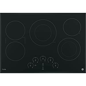 GE PP9030DJBB 30 Inch Smoothtop Electric Cooktop with 5 Radiant, Left-Side Bridge SyncBurners, Glide Touch Controls, Multi-Element Timers and Melt/Keep Warm Setting