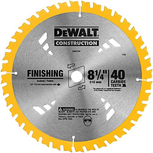 DEWALT DW3184 Series 20 8-1/4-Inch 40 Tooth ATB Thin Kerf Saw Blade with 5/8-Inch Arbor (Tooth Atb Thin)
