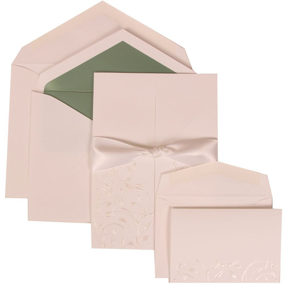 JAM Paper Wedding Invitation Combo Set - 1 Large & 1 Small - White Card with Green Lined Envelope with Heart Garden Ribbon - 150/pack
