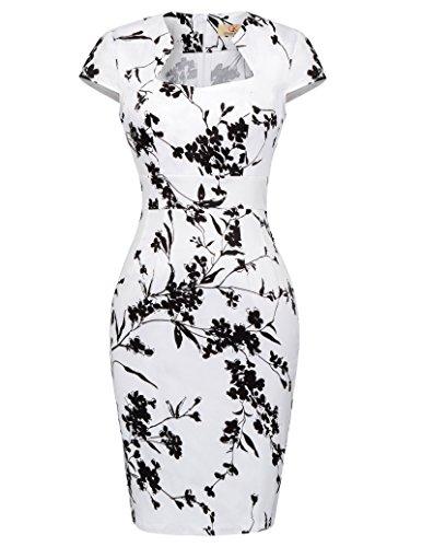 GRACE KARIN Vestido de Swing Retro Manga del Casquillo Estampada Vestido de la Fiesta para Mujer Floral(cl7597-19)