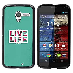 Paccase / SLIM PC / Aliminium Casa Carcasa Funda Case Cover para - Life Quote Motivational Text Teal - Motorola Moto X 1 1st GEN I XT1058 XT1053 XT1052 XT1056 XT1060 XT1055