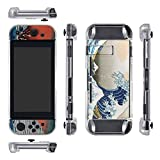 eXtremeRate Protective Crystal Case for Nintendo Switch Console and Joy-Con (with Great Wave Skin Decal & Screen Protector)
