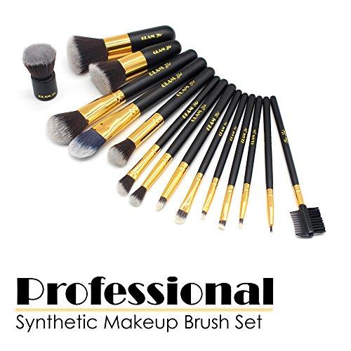 - GLAM GIRL Makeup Brushes Premium Makeup Brush Set Synthetic Kabuki Cosmetics Foundation Blending Blush Eyeliner Face Powder Brush Makeup Brush Kit (15pcs, Golden Black)