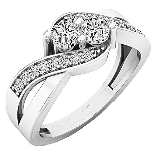 Dazzlingrock Collection 0.50 Carat (ctw) 10K Round Diamond Ladies Two Stone Bypass Bridal Ring 1/2 CT, White Gold, Size 4.5 (Two Bypass Stone Ring)
