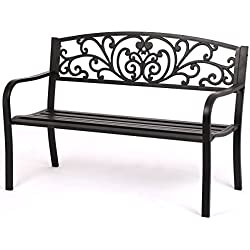 FDW Patio Park Garden Bench Porch Path Chair Outdoor Deck Steel Frame New