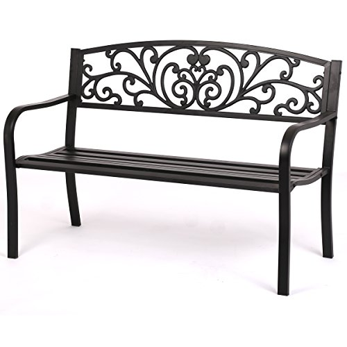 FDW Patio Park Garden Bench Porch Path Chair Outdoor Deck Steel Frame New by FDW