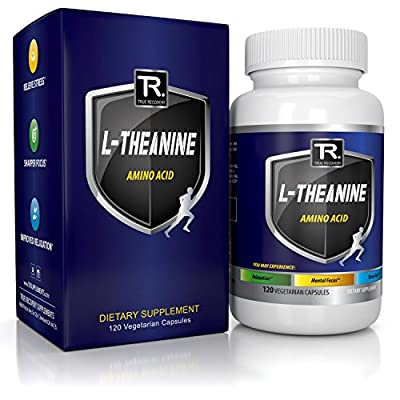 NATURAL L-Theanine 200mg (Double-Strength) - 120 Vegetarian Capsules -100% Non GMO - Best Rated L Theanine For Stress Relief - Focus - And Relaxation