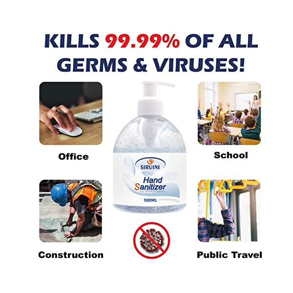 Original More Potent Thicker Formula Only From Sanitise Direct 75 Alcohol Antibacterial Hand Sanitiser Gel 500ml Pump Bottle Hand Gel Sanitizer Kills 9999 Germs Quick Dry Non Sticky