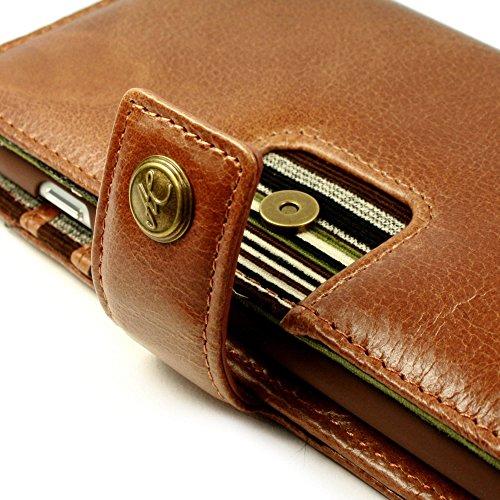 Personalisierte Alston Craig Magnetisch Schale RFID Vintage Ledertasche Brieftasche für Apple iPhone 8 - Braun