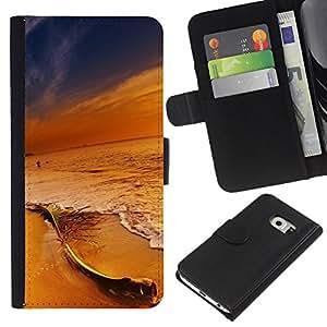 YiPhone /// Tirón de la caja Cartera de cuero con ranuras para tarjetas - Colores en Sunset Beach - Samsung Galaxy S6 EDGE