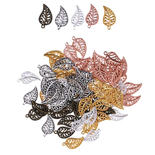 Yiotfandoll 75PCS Antique Hollow Filigree Leaf Charms Tree Leaves Alloy Pendants Beads Charms for DIY Jewelry Findings Making ()