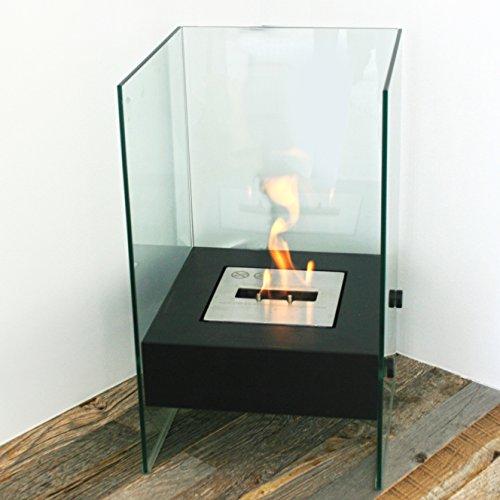 (Chic Fireplaces Bismarck Luxury Ventless Black Free Standing Modern Bio-Ethanol Fireplace Stainless Steel Burner Insert)