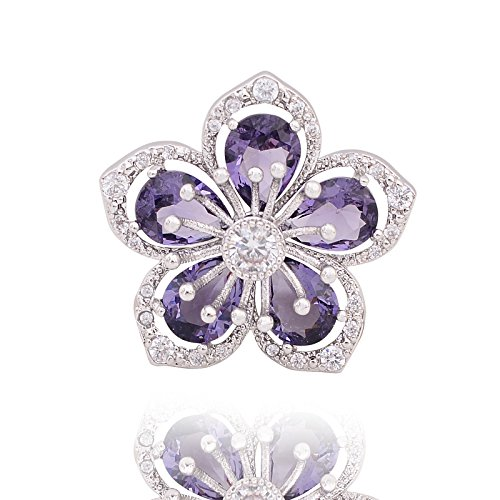 (OBONNIE Women Sparkly Cubic Zirconia Sakura Cherry Blossom Flower Brooch Pin Collar Lapel Pin Badge (Purple))