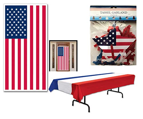 - Patriotic Party Supply Pack Decorating Kit: Red, White & BlueTable Cover, Door Cover, Hanging Garland