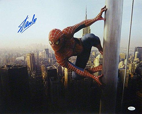 Stan Lee Signed Spider Man on pole 16 x 20 Photograph - JSA Authenticated - Autographed Celebrity Memorabilia