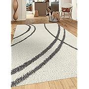 Rugshop Cozy Contemporary Stripe White-Grey Indoor Shag Area Rug, 5'3  x 7'3 , Cream