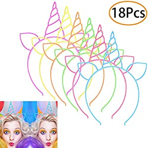 URSKYTOUS 18 Pcs Plastic Unicorn headband Unicorn Birthday Party Favors Supplies Halloween Christmas Party Gift Cosplay Hairband Hair Loop Headware Accessories for Girls Teens Toddlers Children
