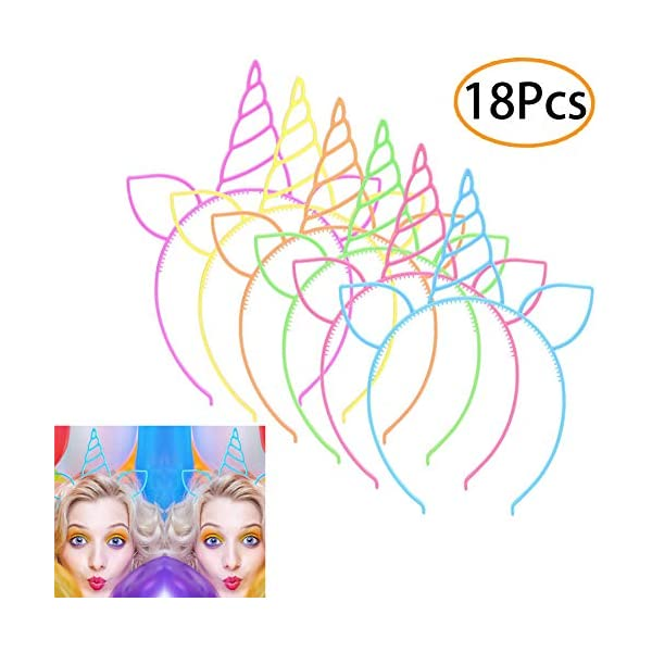 URSKYTOUS 18 Pcs Plastic Unicorn headband Unicorn Birthday Party Favors Supplies Halloween Christmas Party Gift Cosplay… 3