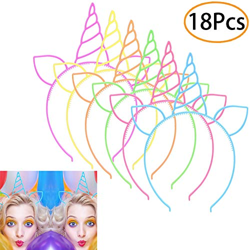 - URSKYTOUS 18 Pcs Plastic Unicorn headband Unicorn Birthday Party Favors Supplies Halloween Christmas Party Gift Cosplay Hairband Hair Loop Headware Accessories for Girls Teens Toddlers Children