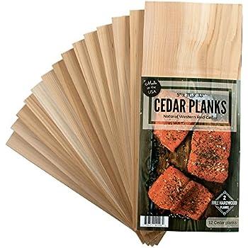 Cedar Grilling Planks 12 Pack + 2 Free Alder Planks - Certified Food Safe - 5x11