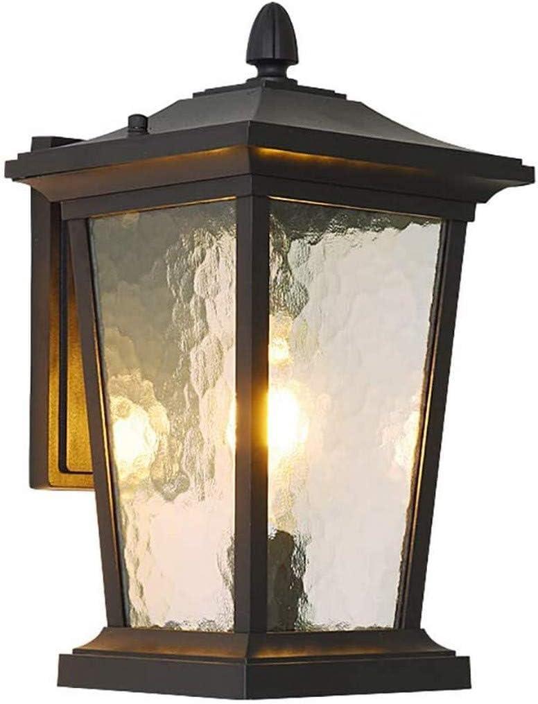 UWY Luminaria para Exteriores, Linterna de Pared Exterior de Granja en Negro con Vidrio Texturizado Luminaria de Porche montada en la Pared Exterior Luz de Pared de Aluminio Impermeable