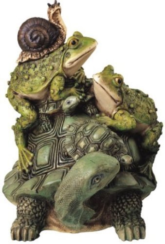 StealStreet SS-G-61005, Frog On Turtle with Snail Collectible Garden Decoration Figurine Statue