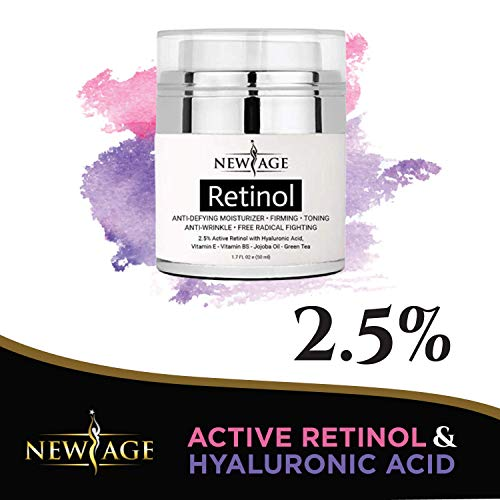 51yWLVgnk1L - (2 Pack) New Age Retinol Cream Moisturizer Serum with Hyaluronic Acid, Vitamin E - Anti Aging Formula Reduces Wrinkles, Fine Lines-Day and Night Cream 1.7 Fl Oz