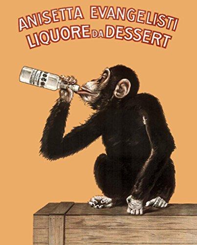 Anisetta Evangelisti Liquore Da Dessert Vintage 1925 Italian Advertising Monkey Poster 24x36 (Drunk Monkey)