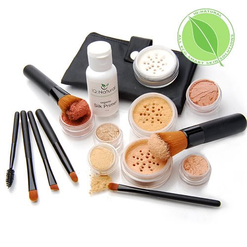ge Mineral Makeup Kit (Select shade) - Concealer, Bronzer, Eye Shadow, Setting Powder, 2 Full Size Mineral Foundation, Primer - Create A Natural Flawless Look ()
