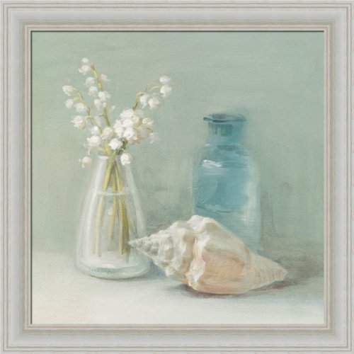 Lily Of The Valley Spa By Danhui Nai Blue Bathroom Bath Spa Wall Art Print  Framed Décor