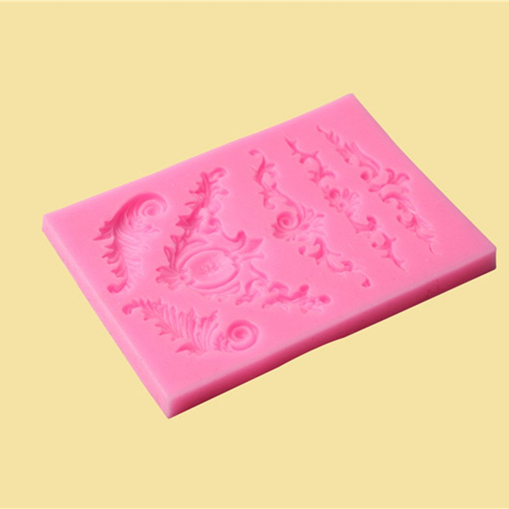 CYCTECH Non-stick Silicone Sculpted Flower Lace Mould Candy Jello 3D Cake Mold (Pink)