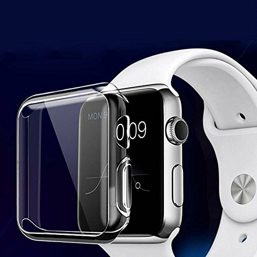 Apple Watch Full TPU Clear Case Series 3 Corner & Edge Protection W/ Screen Protector Built in Bumper Slim Skin [Watch Gel Cover] Protective Case Shockproof Ultra Thin Accessories (38mm Series (Silicon Skin Screen Protector)