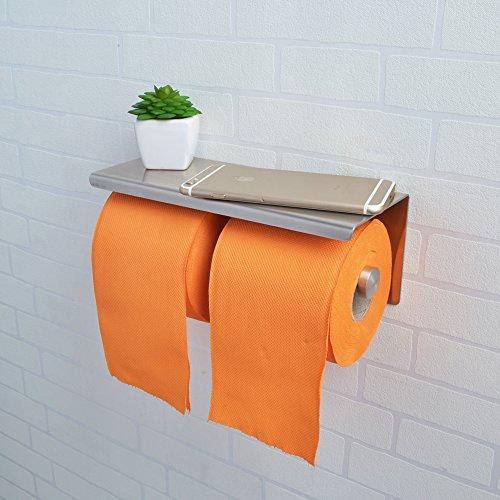 KES SUS 304 Stainless Steel Double Roll Toilet Paper Holder Storage Bathroom (Dual Towel Bar)