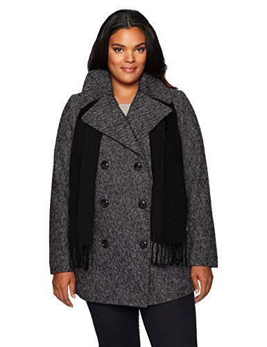 London Fog Women's Plus-Size Double Breasted Peacoat with Scarf, Black/White, 2X