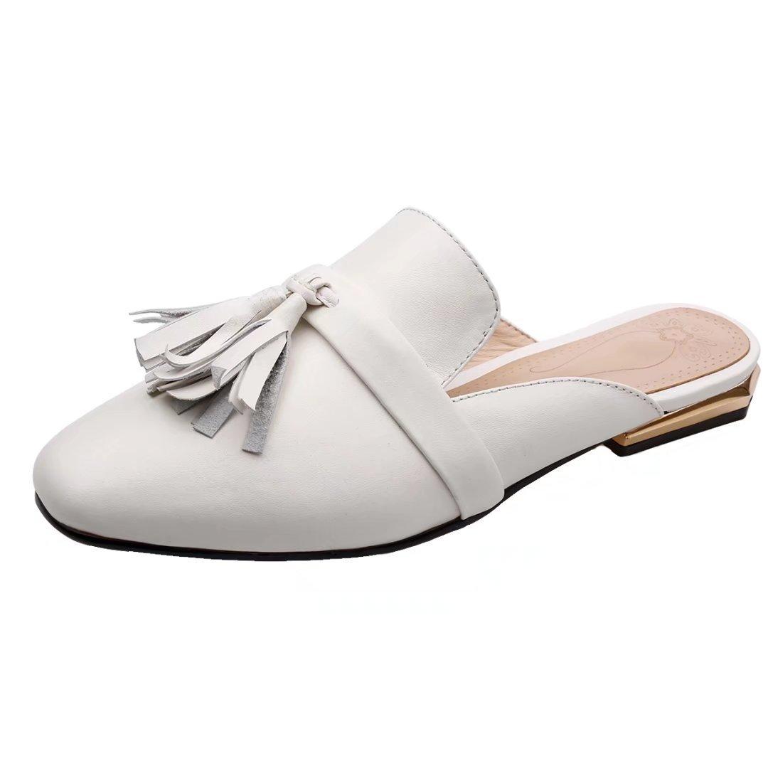 JYshoes Destalonada de Piel Lisa Mujer 38 EU|Wei(Leder)