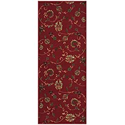 Kapaqua Custom Size RED Floral Rubber Backed Non-Slip Hallway Stair Runner Rug Carpet 22 inch Wide Choose Your Length 22in X 8ft