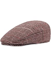 Mens Woolen Plaid Flat Ivy Newsboy Cabbie Gatsby Paperboy Hats Caps for Men 84c34ea9f72e