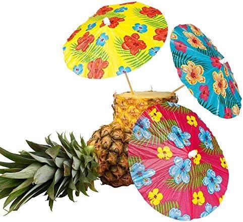 Boland 52523 - Cocktailschirmchen Hibiscus, 6 Stück, Länge Holzstab 18 cm, Cocktailspieße, Getränke Schirmchen, Hawaii, Gartenparty, Beach Party, Geburtstag, Motto Party, Karneval
