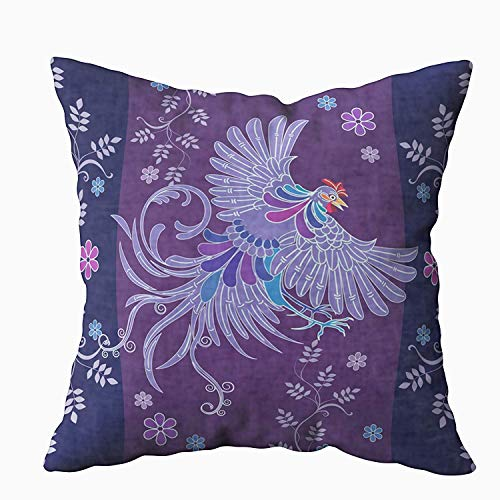 niunai 18x18 Pillow Covers, Batik Design Shape Partridge Fly Its Wings and Some Plants Flowers Element for Sofa Home Decorative Pillowcase Holiday Pillow Covers