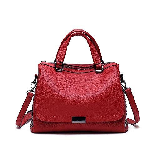 GWQGZ New Boston Fashion Rivet Pillow Bag Soft Shoulder Satchel (Suede Boston Bag)