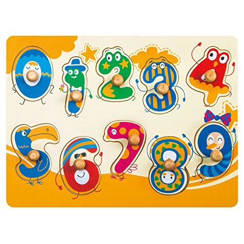 (Robud Wooden peg Puzzle 10 Pieces-Jigsaw Puzzle Boards for Baby Kids-Good for Children Toddler Learning & Education-Colorful & Funny Gifts-Arabic 0-9)