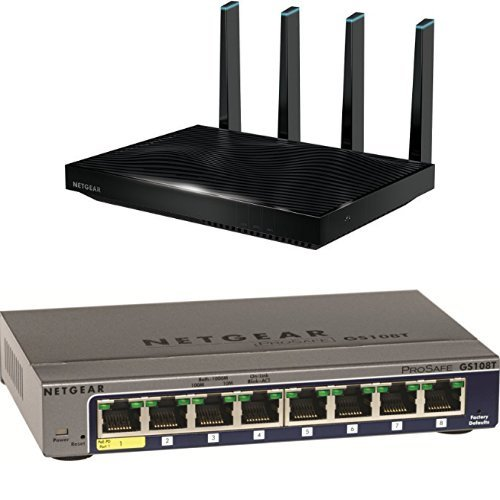 NETGEAR Nighthawk AC5300 X8 Tri-Band WiFi Router (R8500) Bundle with NETGEAR ProSAFE GS108T 8 Port Gigabit Smart Switch (GS108T) (8 Ports Wireless Router)