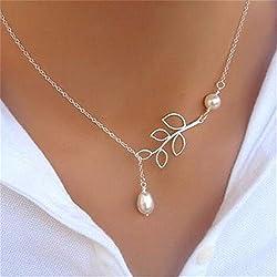 Fashion Jewelry Pendant Chain Pearl Choker Chunky Statement Bib Charm Necklace, NK.