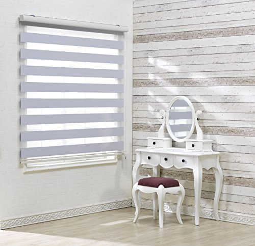 Custom Cut to Size, [Winsharp Blackout Bonita, White, W 60 x H 72 inch] Zebra Roller Blinds, Dual Layer Shades, Sheer or Privacy Light Control, Day and Night Window Drapes, 20 to 110 inch wide
