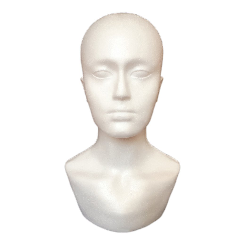 DERKOLY Male Foam Mannequin Head Model Professional Bald Manikin Head Mask Hat Wig Hair Jewelry Headset Scarves Glasses Stand Tool Showcase Display Props White