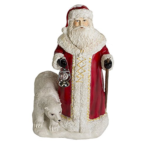 Vintage Lantern Santa Claus and Polar Bear 11 inch Resin Stone Christmas (Vintage Christmas Figurine)